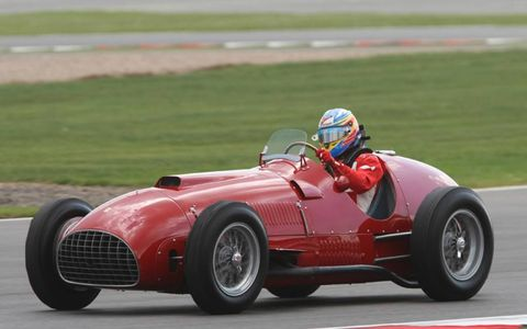 Fernando Alonso drives the Ferrari 375 before the British Grand Prix in celebration of the Prancing Horse's first victory at Silverstone by Froilan Gonzalez in 1951. Photo by: Jakob Ebrey/LAT Photographic