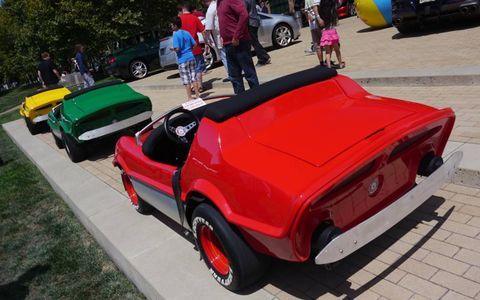 You never know what you'll see at the Pixar Motorama. These are Disneyland Autopia cars converted to run on electricity by Tony Bottini. Pixar's Mark Walsh has a couple.