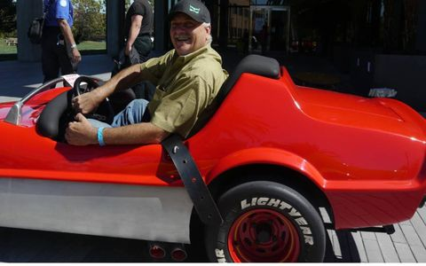 Tony Bottini brought three of his converted Autopia cars tp Motorama. It was hard to tell who was having more fun, he or those he let drive them.