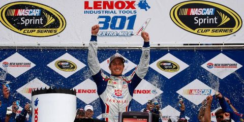 Kasey Kahne celebrates his second Cup Series win of the season on Sunday.