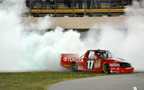 Timothy Peters padded his points lead in the NASCAR Camping World Truck Series with a win in Iowa on Saturday.