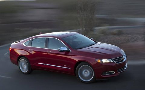 The 2014 Chevrolet Impala 2LTZ comes in at a base of $36,580, with our tester topping off at $39,510.
