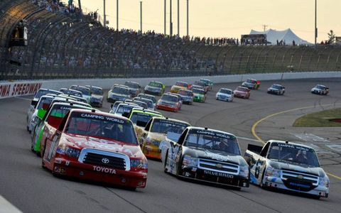 Action early in the Truck Series race at Iowa.