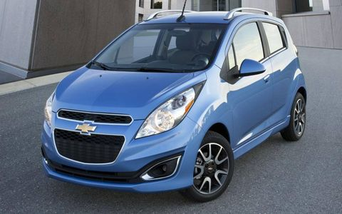 A front view of the 2013 Chevrolet Spark.