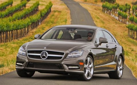 A 4.6-liter twin-turbocharged V8 produces 402 hp and 443 lb-ft of torque in the CLS550
