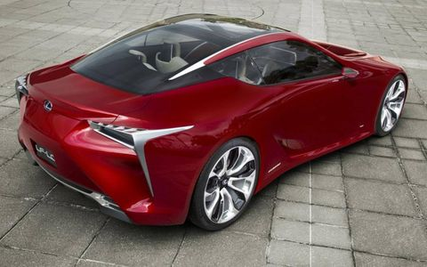 A rear view of the Lexus LF-LC coupe concept.