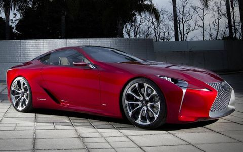 A view of the right side of the Lexus LF-LC coupe concept.