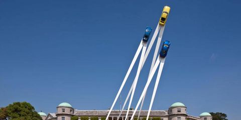 This year's Goodwood Festival of Speed sculpture honored the Porsche 911, which turns 50 this year.