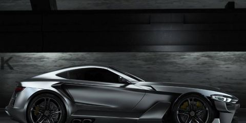The Aspid features classic sports car proportions.