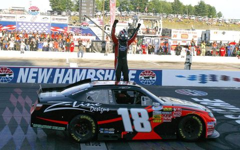 The celebration begins. Busch captured his record-tying 49th Nationwide win and 100th NASCAR victory in all competitions.