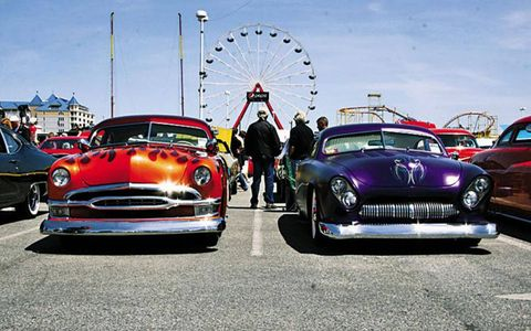 A pair of custom hot-rods parked at the Ocean City, MD. cruise.