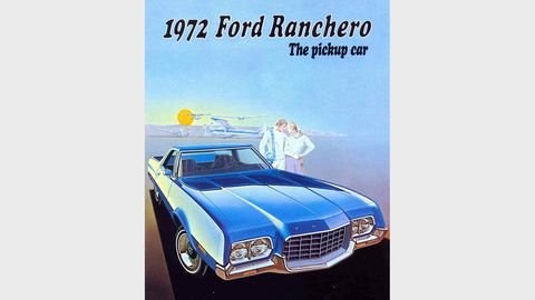The Ranchero, along with its Torino sibling, got some major body changes for the 1972 model year. The pickup car!