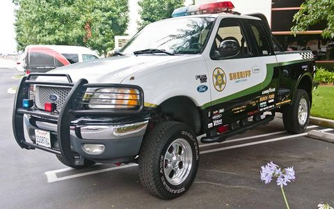 Sheriff truck parks anywhere he damn well wants to.