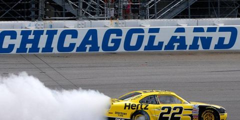 Joey Logano was the lone Cup regular in the NASCAR Nationwide field on Sunday at Chicagoland Speedway.