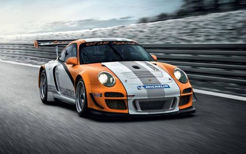 Porsche has combined its favorite racing car, the GT3 R, with a rolling lab of hybrid technology