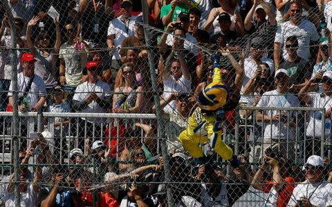 Helio Castroneves did his Spiderman routine after his win on Sunday in Edmonton.