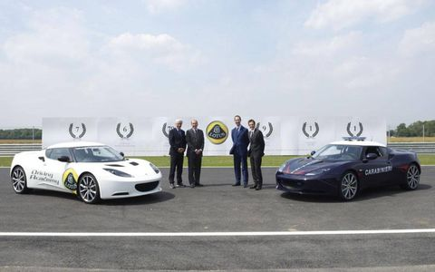 A pair of Lotus Evora S sports cars join the Italian Carabinieri