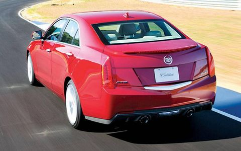 A rear view of the 2013 Cadillac ATS.