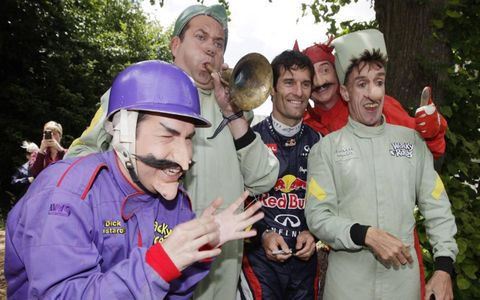 2012 Goodwood Festival of Speed: Wacky Races characters with Mark Webber, Red Bull Racing at Goodwood.
