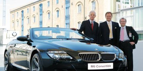 New BMW M6 Convertible presented Dr Helmut Panke chairman BMW AG, Professor Ulrich Bruhnke president of BWM M Series and Jim O'Donnell, managing director of BMW UK.
