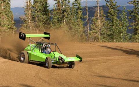 Paul Figueroa slides around in his open-wheel racer.