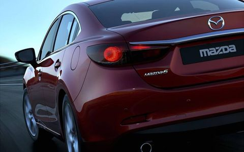 A view of the rear of the redesigned 2014 Mazda6.