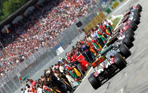 2012 German Grand Prix: The cars line up on the grid.