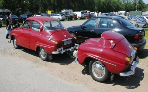 The best way to expand the trunk space of a Saab 96? Add half of another Saab 96.