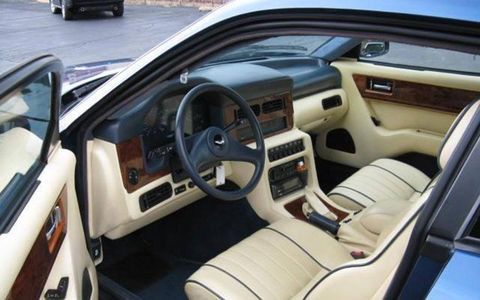 1991 Aston Martin Virage interior is all Connolly leather with contrasting piping.
