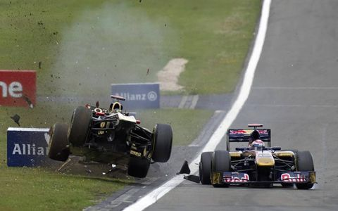 UNLUCKY AT HOME: Nick Heidfeld had to retire his Lotus Renault after crashing with Sébastien Buemi's Ferrari in the German Grand Prix at the Nürburgring on July 24.