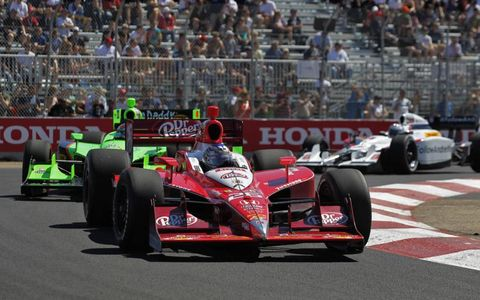 2011 IndyCar Edmonton, Canada: Marco Andretti leadss Danica Patrick and Mike Conway