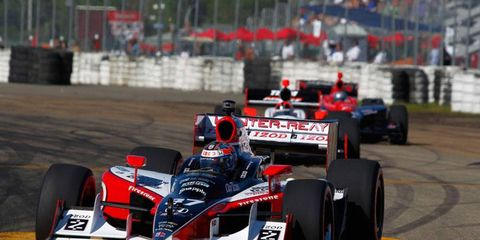 23-25 July, 2010, Edmonton, Alberta, Canada Ryan Hunter-Reay leads Helio Castroneves and Marco Andretti