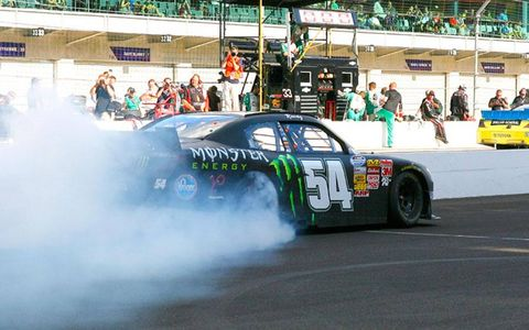 Kyle Busch won his eight NASCAR Nationwide Series race in 15 tries on Saturday.