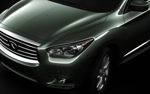 The hood of the Infiniti JX seven-seat crossover.