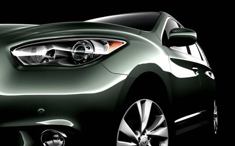 The headlamp of the Infiniti JX seven-seat crossover.