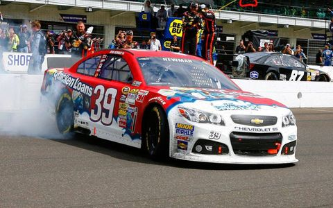 Ryan Newman, who is looking for a 2014 ride, won at Indianapolis on Sunday.