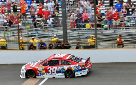 Ryan Newman crosses the finish line at the Indianapolis Motor Speedway on Sunday.