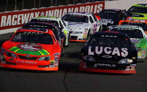 The start of the ARCA race at Lucas Raceway in Indianapolis on Friday.