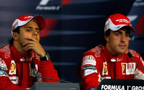 Hockenheimring, Hockenheim, Germany 25th July 2010 Felipe Massa, Ferrari F10, 2nd position, and Fernando Alonso, Ferrari F10, 1st position, in the post race press conference