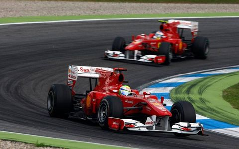 Hockenheimring, Hockenheim, Germany 25th July 2010 Felipe Massa, Ferrari F10, 2nd position, leads Fernando Alonso, Ferrari F10, 1st position.