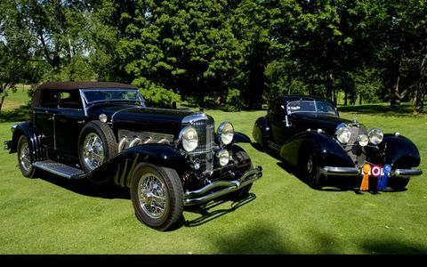 The Best in Show 1933 Duesenberg Model SJ Riviera Phaeton Brunn and the 1938 Mercedes-Benz 540K Autobahn Kurrier.