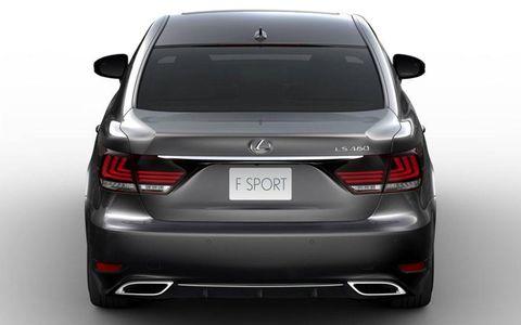 A rear view of the new Lexus LS F-Sport model.