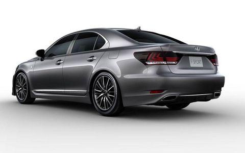 A rear three-quarter view of the new Lexus LS F-Sport model.