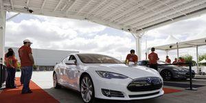 A Tesla Model S at the Get Amped event in Fremont, Calif.