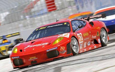 The #62 Risi Ferrari races into turn one.
