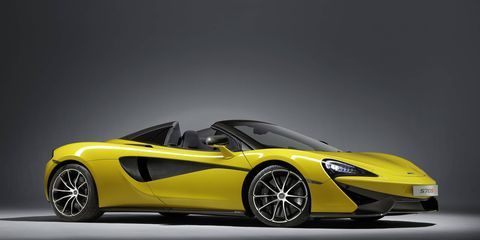 The combination of carbon fiber construction and 3.8-liter, twin-turbocharged McLaren V8 engine, means that the new 570S Spider is both more powerful and lighter than comparable convertibles, with an impressive power-to-weight ratio of 413-hp per ton or 2.42 pounds per horse.