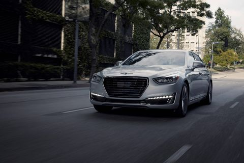 The 2018 Genesis G90 comes with either a turbocharged 3.3-liter V6 or a 5.0-liter V8.