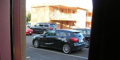 The A-Class parked with almost no camouflage.