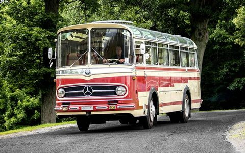 This bus was converted into a luxury motorhome after years of driving around the Swiss national hockey team.
