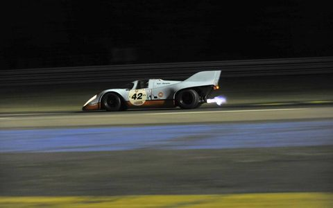 Porsche 917 (Richard Attwood/Vern Schuppan) in Indianapolis corner (grid 5, cars from 1966 to 1971).
